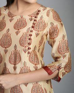 Silk Cotton Printed Awadh Neck Long Kurta: Salwar Neck Designs, Churidar Designs, Neck Designs For Suits, Kurta Neck Design, Sleeves Designs For Dresses, Dress Neck Designs, Kurta Designs Women, Sleeve Designs, Blouse Designs