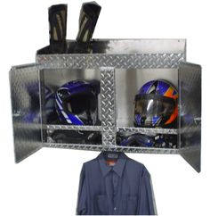 Good Dirt Bike Storage. Helmets Goggles And Gloves Inside. Boots On Top. Gear  Hanging