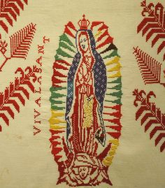Detail of an embroidered cloth depicting the Virgen de Guadalupe