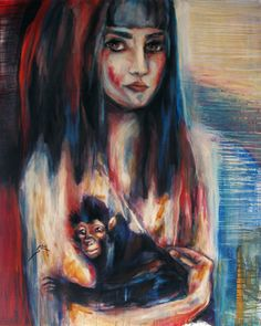 "Saatchi Online Artist Suhair Sibai; Painting, ""Girl and a Monkey!"" #art"