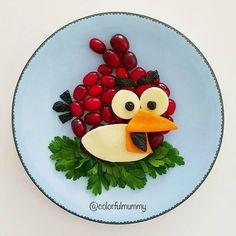 Red is ready to go.... Red gitmeye hazır... Cornelian cherry,cheese, olive, carrot, parsley. Kızılcık, peynir, zeytin, havuç, maydanoz #red #angrybirds #birds #cheese