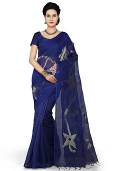 Dark Blue Cotton and Silk Bengal Handloom  Saree with Blouse