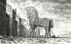 Caricatures, Art Visionnaire, Trojan Horse, Illustrations, Mixed Media Canvas, Google Play, Inktober, Architecture Art, Horses