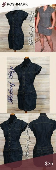 """🍁 MOSSIMO DENIM MINI DRESS MOSSIMO DENIM MINI DRESS is one of my personal favorites!! 😊  It's so hard for me to let it to another good home! 😍 It is """"GENTLY LOVED"""" and is in EXCELLENT CONDITION! 🎉 Button Down Front ending with 4"""" Zipper for that perfect fit!  🛍SMOKE FREE & PET FREE HOME🛍  👗76% Cotton, 23% Polyester, 1% Spandex   👙 Bust: 20"""" (Armpit to Armpit), Hips: 21.5, Length:  32"""" L  🌟All measurements taken layed flat. Mossimo Supply Co Dresses Mini"""