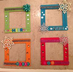 Xmas Popsicle stick frames!! I made these!! @jsigler crafts follow me!