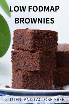 FODMAP brownies - basic A basic recipe for low FODMAP brownies which are also gluten-free and lactose-free.A basic recipe for low FODMAP brownies which are also gluten-free and lactose-free. Fodmap Dessert Recipe, Dessert Sans Gluten, Fodmap Recipes, Gluten Free Desserts, Gluten Free Recipes, Dessert Recipes, Cookie Recipes, Diet Recipes, Fodmap Foods