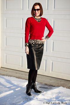 milf black leather skirt