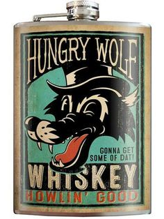 Hungry Wolf Stainless Steel Flask Comes In A Gift Box Trixie&Milo Alternative Tattoo, Wedding Alcohol, Inked Shop, Mermaid Tattoos, Shot Glasses, That Way, Whisky, Liquor, Barware