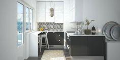 Kauniilla kuvioiduilla laatoilla teet keittiöstä persoonallisen tyylikkään. Tutustu Cello-keittiöihin, kuvassa Cello-keittiö Sarkola-Haikkoo.
