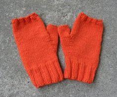 orange handknit fingerless gloves for women - 100% wool by KnitsYoursKnotMine for $14.50