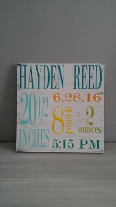 Birth Announcement Wood Sign Wall Art Decor By ChalkItUpDecorNMore