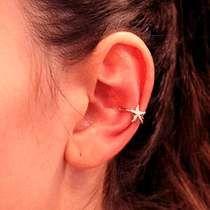 Rommanel Ear Cuff Meia Argola Estrela Brinco Fol Ouro 525306