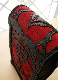 Gothic Red black leather Big Tarot cards deck от DarkCenturies