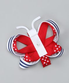 Look at this #zulilyfind! Bubbly Bows Red Polka Dot Butterfly Clip by Bubbly Bows #zulilyfinds