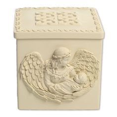 The Essence of Love Memory Angel Box has an intiricate designs to surround the outside of the box and is are beautiful, elegant and classic in design. Here you can place a memory inside of your loved one. It could be placed right beside the urn or a picture of you loved one. Protect your keepsake right here and never misplace it, keep it save with an Angel Keepsake Box. The Angel box is made of high quality polystone.