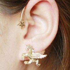 Golden Star And Unicorn Ear Cuff