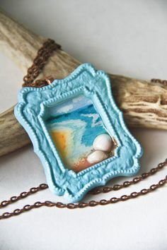 Ocean Painting Beach Pendant OOAK Original by ArtsyHeartsyBoutique, $28.00