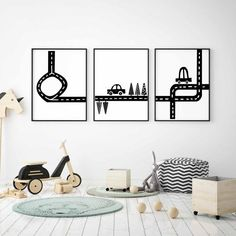 Set of 3 Road Prints in Black and White For Boys Room Decor, Transportation Wall Art Printable Car Wall Art, Art Wall Kids, Nursery Wall Art, Nursery Decor, Kids Room Art, Bedroom Themes, Kids Bedroom, Car Themed Bedrooms, White Nursery