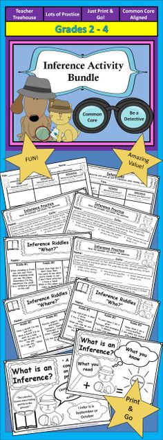 Introduce and practice the skill of making inferences with this amazing activity bundle!   This set includes: - 2 Printable Inference Posters - 3 Pages of Inference Riddles - 3 Worksheets - 2 Graphic Organizers - Answer Keys are Included