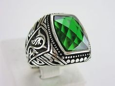 Turkish Handmade Ottoman 925 Sterling Silver Ring Men's Emerald Stone …