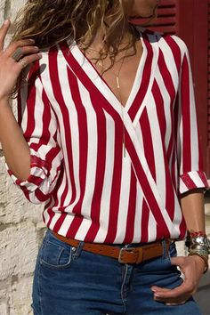 Women Striped Blouse Shirt Long Sleeve Blouse V-neck Shirts Casual Tops Blouserricdress Striped Long Sleeve Shirt, Long Sleeve Tops, Long Sleeve Shirts, Red White Striped Shirt, Striped Style, Mode Outfits, Fashion Outfits, Fashion Blouses, Ootd Fashion