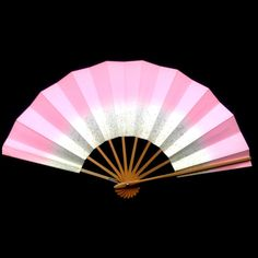 Japanese Dance Fan Mai Ogi Pink Gold Leaf in by VintageFromJapan