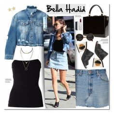 """""""Bella Hadid"""" by oshint ❤ liked on Polyvore featuring County Of Milan, T By Alexander Wang, Marni, Dolce&Gabbana, Prada, Givenchy, Jennifer Meyer Jewelry and denim"""