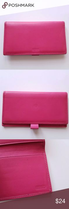 Auth Coach checkbook cover! Soft Leather Authentic Coach checkbook cover - deep raspberry pink buttery soft leather - in good used condition with a few pen marks, dents, and scuffs. Overall still very nice! From a smoke free home :)  8188coach888 Coach Accessories