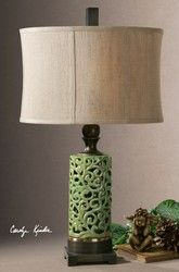 27394-1 Fiora Ceramic Lamp, Contemporary Green Ceramic Table Lamp by Uttermost with Free Shipping and Discount Prices.