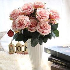 Buchete cu 10 flori de trandafir frantuzesc artificiale, in stil european
