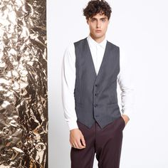 now on eboutic.ch - grey sleeveless waistcoat for men Suit Jacket, Vest, Famous Brands, Cosmopolitan, Sexy Outfits, Feminine, Glamour, Sport, Elegant