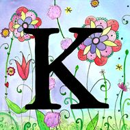K on a floral background. This site has lots of alphabet art.