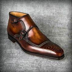 Cognac Patina Handmade Ankle High Boots for men custom leather shoe for men - Dress Shoes Men Der Gentleman, Gentleman Shoes, Leather Brogues, Leather Shoes, Men's Leather, Custom Leather, Cowhide Leather, Real Leather, Handmade Leather