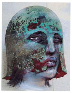 © Enki Bilal, Casque de type corinthien et Hécube. (FUTUROPOLIS, MUSEE DU LOUVRE/Enki Bilal.)  http://www.artactuel.com/actualite-art-contemporain/les-fantomes-du-louvre-enki-bilal-du-20-decembre-2012-au-18-mars-2013-75.html