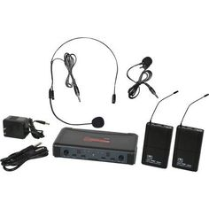 Galaxy Audio Ecdr/38SV Code: D 584-607MHz Dual-Channel Wireless Microphone System, Receiver, Headset Mic, Lavalier Mic and 2 Body Packs