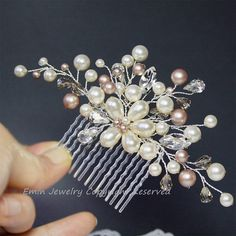 Wedding Hair Accessories, Ivory Champagne Pearls Rhinestone Floral Vine Silver Bridal Hair Comb, Vintage Bridal Hair Accessories Wedding Hair Accessories Beaded Ivory Champagne by adriajewelry Vintage Bridal Hair, Vintage Hair Combs, Bridal Hair Pins, Hair Comb Wedding, Wedding Hair Pieces, Headpiece Wedding, Bridal Updo, Bridal Headpieces, Hair Jewelry