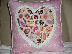 candy heart...stitched by Barbara Kingston. Sweet!