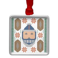 Santa Football Blue Orange Ugly Christmas Sweater Square Metal Christmas Ornament