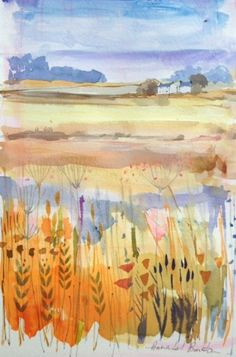 Original Water Colour Painting 'Distant Landscape' Signed Annabel Burton