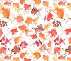 Goldfish are pure joy to me. Their bright colors glimmer in ponds and tanks. They dart and flash around in the water and cannot fail to lift your mood.  The fish in this pattern are all from a series of my original watercolor paintings depicting colorful goldfish in different colors and sizes.   These goldfish are bright against the white of the fabric. Colorful, joyful and fun.  Also available in a smaller scale: http://www.spoonflower.com/fabric/5634234-small-scale-water...