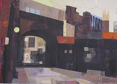Peter Clayton a watercolour and collage of a bridge with road and surrounding buildings