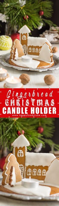 Get into the Holiday spirit by making gingerbread Christmas candle holder. This lovely centerpiece is easy to make and smells amazing. #christmas #gingerbread #candles #DIY #holidays #handmade #centerpiece #family via @happyfoodstube