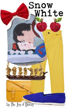 Buy Snow White's look:Top, $24.50 ; Jeans, $41.30 ; Shoes, $13.50 ; Bag, $19.80 ; Necklace, $99 ; Earrings, $16.99 ; Bow, $2.80  Casual outfit inspired by Snow White!This would be a great look to wear at the Disney parks :)
