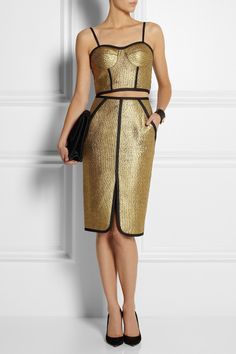 Metallic Moment: high-shine finishes lend lustre to fall. Jonathan Simkhai | Metallic bouclé bustier