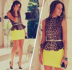 leopard print with yellow skirt
