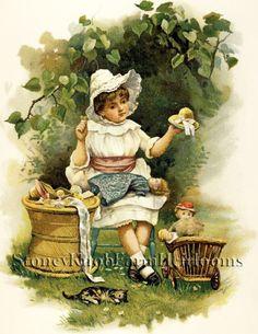 Dolly's New Hat~Vintage Children~H.Bennett~Cross Stitch Pattern~ Printed #StoneyKnobFarmHeirlooms #CountedCrossStitch