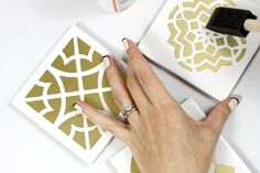 DIY: moroccan tile coasters. But I wonder if the painted tiles could be used on a backsplash, floor, or wall? Moroccan Party, Moroccan Theme, Moroccan Tiles, Moroccan Design, Tile Crafts, Darby Smart, Tile Design, Craft Gifts, Tile Coasters