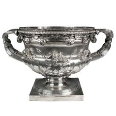 """Monumental, Georgian, Sterling Silver """"Warwick Vase"""" Champagne Wine Cooler   From a unique collection of antique and modern barware at https://www.1stdibs.com/furniture/dining-entertaining/barware/"""
