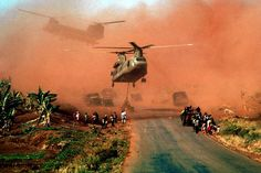 Chinook helicopters evacuating South Vietnamese soldiers in April 1975