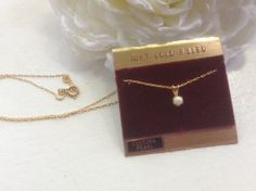 Cultured Pearl Necklace Pendant 14KT G.F. by EstatementTreasures, $18.00
